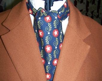 "Ascot or Carvat Civil War Union with Stars cotton fabric 4"" x 43"" Mens Historial Bow Tie, cravat tie"