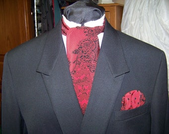 """Ascot or Carvat Red and Black Floral Paisley lacey look, silky cotton blend print fabric 4"""" x 56"""" Mens Historial Wedding, cravat tie"""