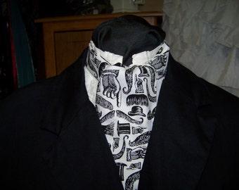 "Ascot or Cravat White and Black Mustache Top Hat cotton print fabric 4"" x 52"" Mens Historial Wedding, cravat tie Mens nicktie"