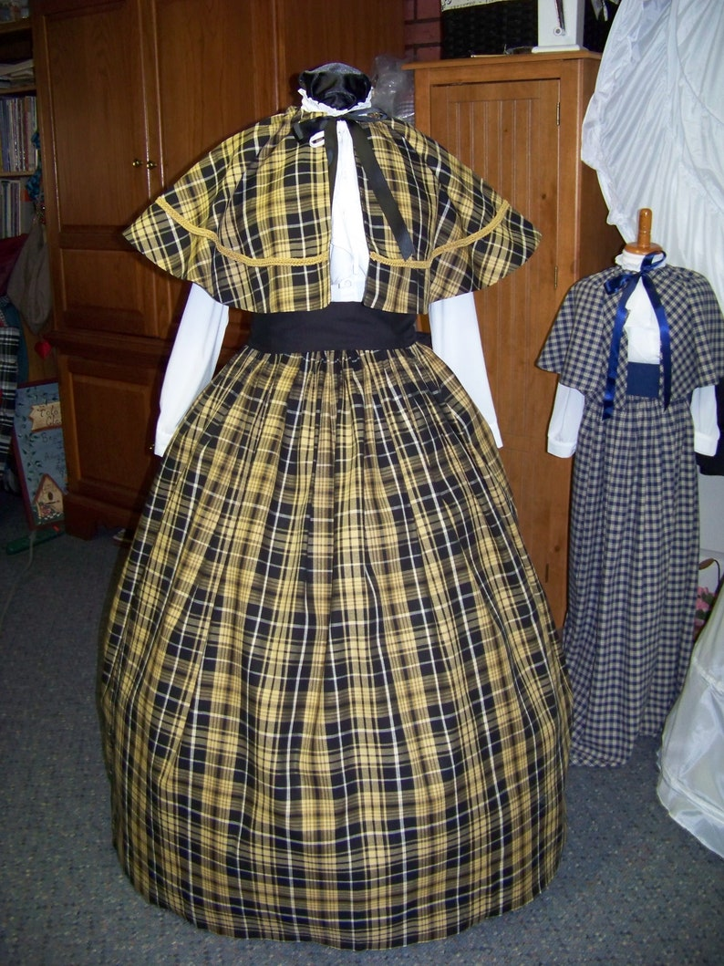 Golden Tan or khaki and white plaid cotton homespun Dickens Civil War Ladies Long Skirt or Sash or Cape one size fit all Black