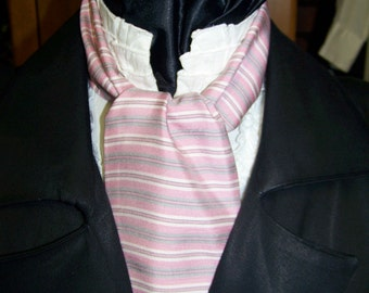 """Ascot or Carvat Pink ,White and Gray Stripe Rayon soft fabric 4"""" x 45"""" Mens Historial Bow Tie or Wedding, cravat tie"""