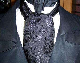 "Ascot or Cravet black rose brocade print 4"" x 57"" Mens Wedding, cravat tie with matching pocket puff"