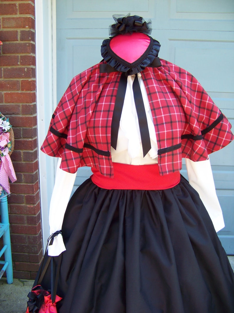 Vintage Coats & Jackets | Retro Coats and Jackets Dickens Christmas Victorian cape Red black and white Plaid 36