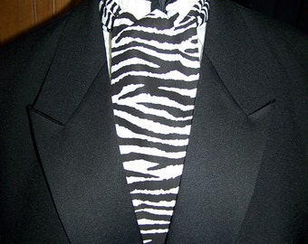 """Ascot or Carvat black and white Zebra Print cotton  fabric 4"""" x 45"""" Mens Historial Bow Tie"""