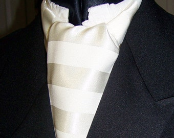 """Ascot or Cravat Creamy Ivory Stripe fabric 4"""" x 48"""" Mens Historial Bow Tie for Wedding,"""