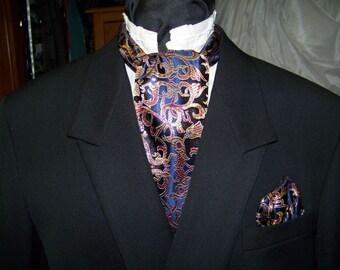 "Ascot and pocket square puff Navy Blue, Gold and Marron Royal print  Brocade fabric 4"" x 44"" Mens cravat tie"
