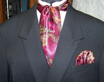 """Ascot or Carvat Purple, Red, Gold, Black Paisley Silky print fabric 4"""" x 56"""" Mens Historial Bow Tie or Wedding, cravat tie"""