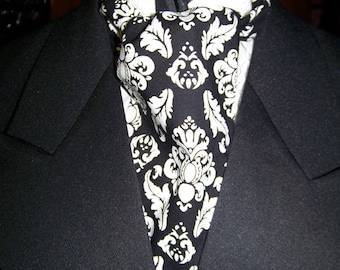 """Ascot or Carvat White and Black Damask cotton print fabric 4"""" x 45"""" to 55"""" Mens Historial Wedding, cravat tie or Pocket Square"""