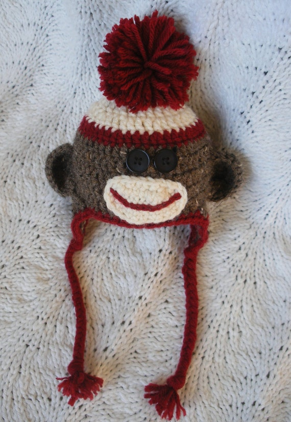 Sock Monkey Hat with Ears Red Pom Pom Hair Black Button 42f96f1a81df