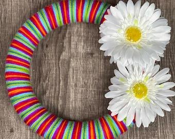 Rainbow Daisy Yarn Wreath