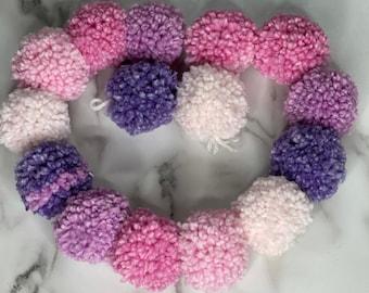 Pom pom garland, home decor, wall decor, yarn pom pom garland, nursery, birthday