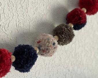 Americana Pom Pom Garland with beads