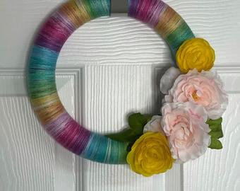 Light Rainbow Floral Wreath