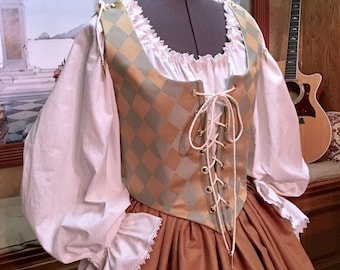 Renaissance Wench or Maiden Reversible Bodice and Skirt, Gown or Dress, Aqua & Gold, Custom sized for You