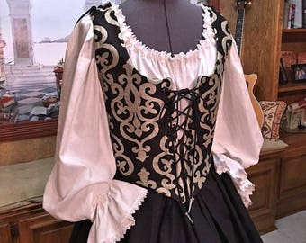 Renaissance Wench or Maiden Reversible Bodice and Skirt, Gown or Dress, Black, Ivory, Gold, Custom sized for You!
