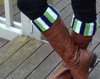 Seattle Seahawks inspired boot cuffs football soccer crochet custom team
