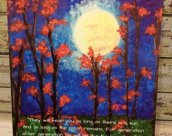 "5"" x 7"" Print ~ As Long As Moon Remains...Untill Moon is No More - Psalm 72:5-8 Scripture ~ Acrylic Painting"