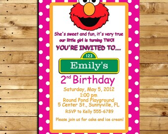 Elmo Custom Made Birthday Invitation For 2 Year Old