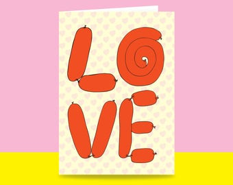 Greeting Card - Love Sausages   Valentine's Day Card   Romantic Card