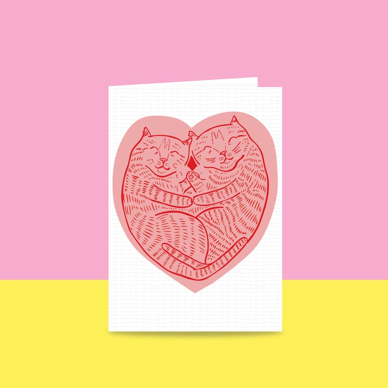 Greeting Card  Love Cats  Valentine's Day Card  image 0