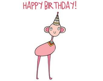 Alien Birthday Card - Pink Alien