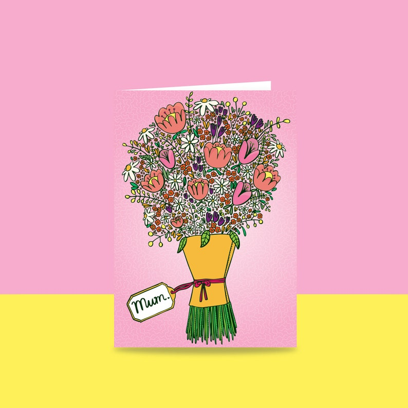 Mothers Day Card  Bouquet For Mum  Simple floral card for image 1