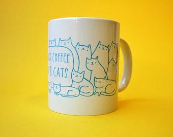 Mug - Drinks Coffee Loves Cats  | Coffee Mug | Cup | Drinking Cup | Funny Mug | Cat Mug