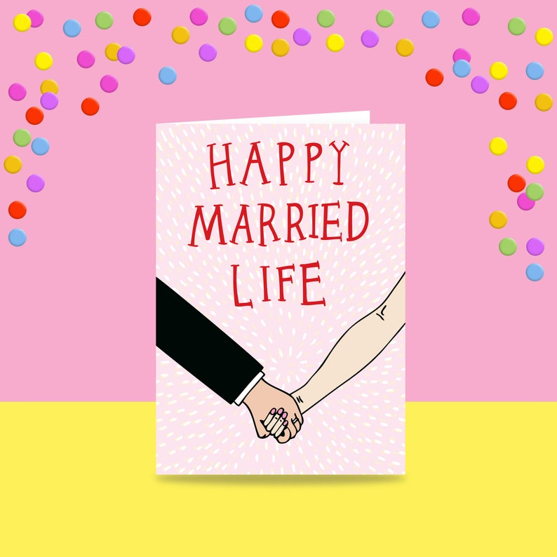 Greeting Card Happy Married Life Marriage Card Wedding Etsy