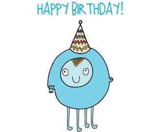 Alien Birthday Card - Blue Alien