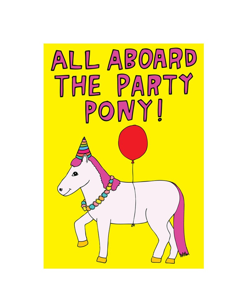 Birthday Card All Aboard The Party Pony image 0