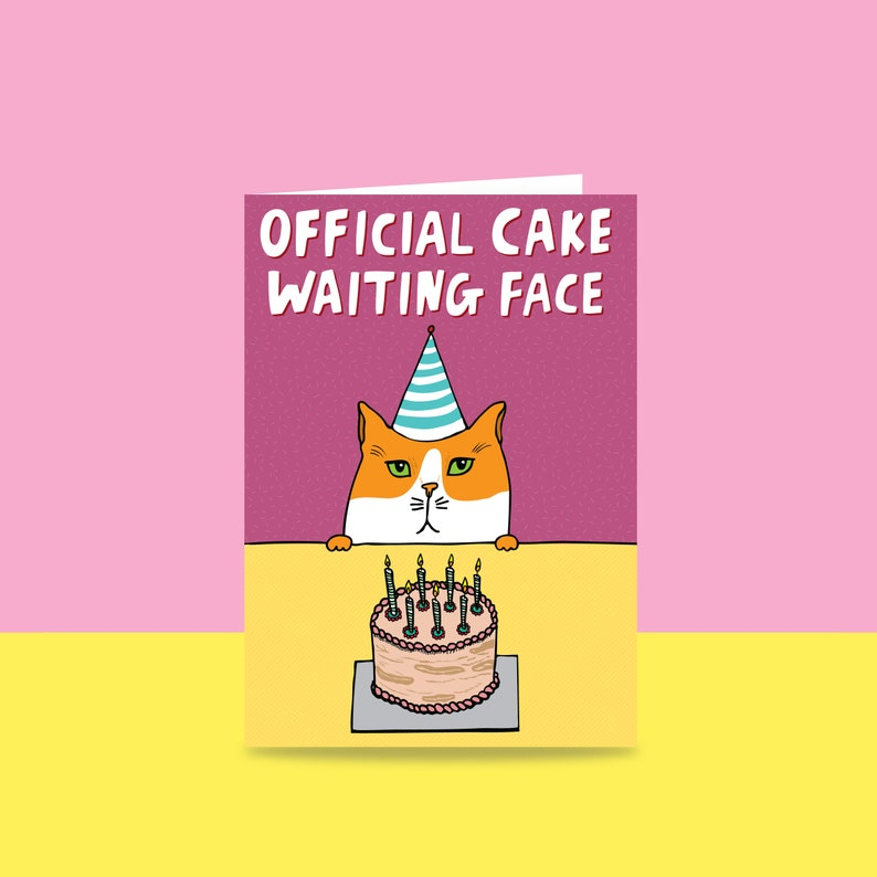 Birthday Card  Official Cake Waiting Face  Card For A Cat image 0