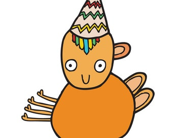 Alien Birthday Card - Orange Alien