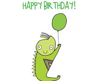 Alien Birthday Card - Green Alien