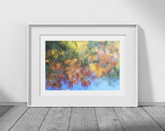 Water Colour - Nature Photography, Fall, Autumn, Jewel Tones, Emerald, Amber, Sapphire, Topaz, Natural Decor, Royalty Free, Digital