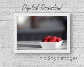 A Taste of Raspberries - Kitchen Art, Kitchen Photography, Raspberry, Kitchen Decor, Dining Room, Restaurant Decor, Restaurant Design, JPEG