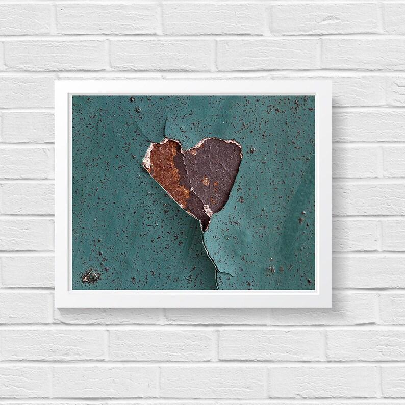 Rustic Style Rustic Photography Wabi Sabi Found Heart Teal image 0
