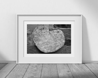 Rustic Love - Rustic Decor, Rustic Wall Art, Black and White Photography, Natural Art, Heart, Farmhouse Decor, Cottage Decor, Shabby Chic