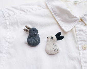 Bunny Rabbit mini embroidered brooch pin