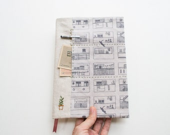 Singapore HDB neighbourhood - adjustable A5 fabric bookcover