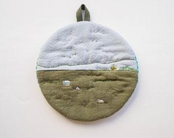 Imaginary Landscape #21 - Cotton Linen quilted Trivet cum Pot Holder