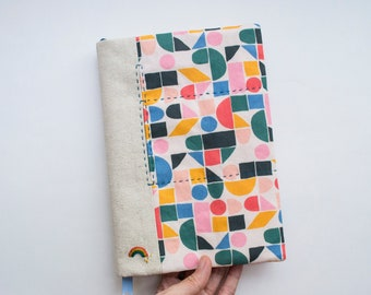 Rainbow Geometry - adjustable A5 fabric bookcover
