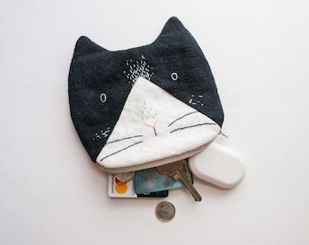 Tuxedo Cat small zip pouch case