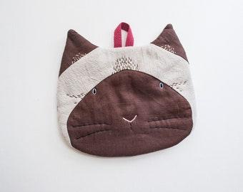 Saimese Cat - Cotton Linen Trivet cum Pot Holder Hand-embroidery