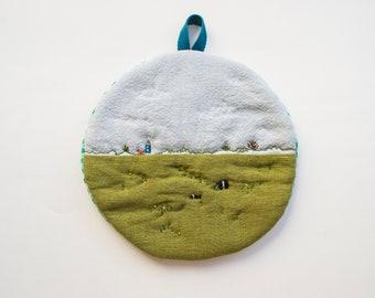 Imaginary Landscape #22 - Cotton Linen quilted Trivet cum Pot Holder
