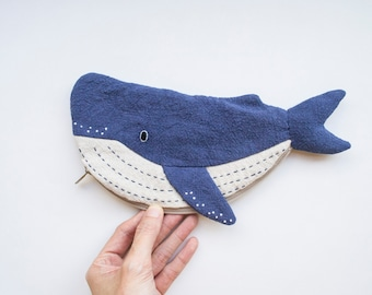 Humpback Whale small zip pouch case