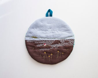 Imaginary Landscape #18 - Cotton Linen quilted Trivet cum Pot Holder