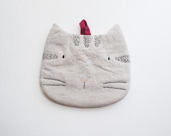 Tabby Cat - Cotton Linen Trivet cum Pot Holder Hand-embroidery