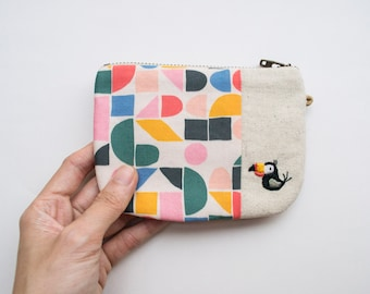Toucan Embroidered Petit Zip Pouch- Geometric Rainbow Print
