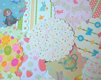 Fifty Scalloped Paper Posies - Whimsical Children Theme