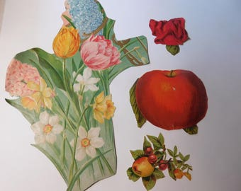 SALE - Vintage Paper Ephemera - Fruit and Flowers - Mixed Media Art